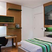 Quarto masculino decorado, móveis cores e organização
