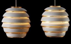 TEFAF, lampara colmena de Alvar Aalto -finlandia-1950-aluminio-y-laton-de-la-coleccion-de-philippe-denys
