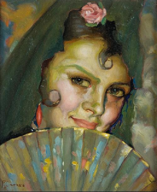 Jóven con abanico,óleo de Ramón Carazo (Granada 1896-1936). Sala Retiro