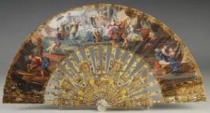 Abanico Real con alegoría de la Monarquía Española.