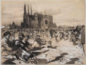 Joaquim Mir, Esbós La catedral dels pobres c.1898  Dimensions 48 per 62 cm