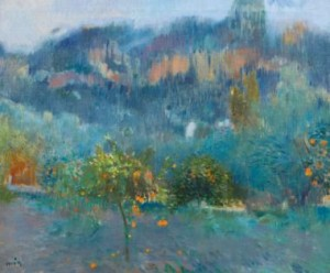 Joaquim Mir, Paisaje-Mallorquin-con-naranjas,Sothebys-Londres