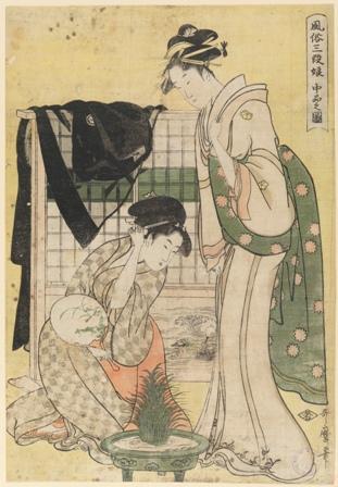 Chûbon no zu [Escena de clase media]. De la serie Fûzoku sandan musume[Costumbres de tres rangos de mujeres jóvenes]. Kitagawa Utamaro (Utamaro hitsu). Grabado en madera a la fibra, nishiki-e, 370 x 255 mm. c. 1794 - 1795. Madrid, Museo Nacional del Prado.