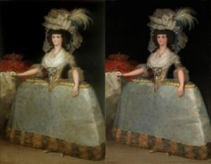 María Luisa de Parma con tontillo de Goya, Antes y después restauración Prado