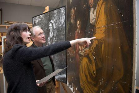 Carmen Albendea, Associate Conservator of Paintings and Ian McClure, Susan Morse Hilles Chief Conservator.