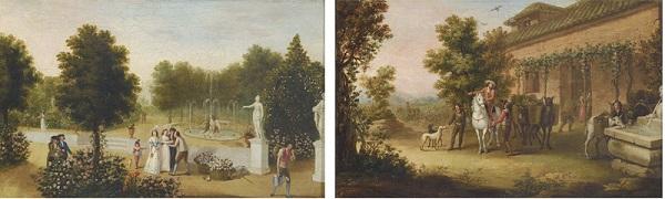 Lote 709: Antonio Carnicero (Salamanca, 1748- Madrid, 1814). Escena de vendimia y Escena de jardín. Pareja de óleos sobre lienzo, 29x 46.5 cm. Precio de salida: 80.000 euros