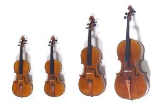 Violín, violín, viola, violonchelo, Stradivarius. Colección Patrimonio Nacional