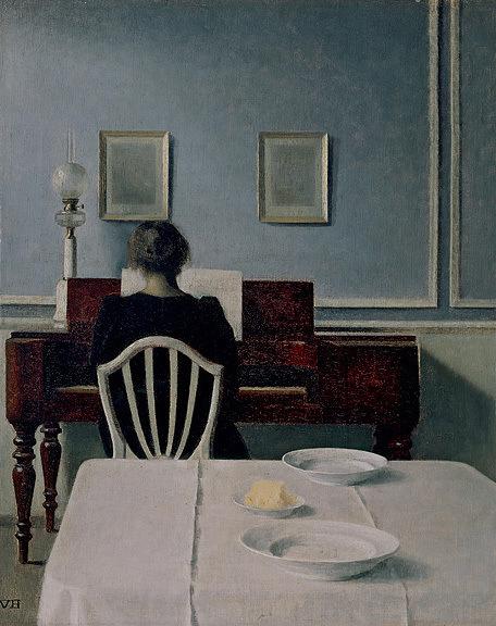 """""""Interior con mujer al piano"""" (Vilhelm Hammershøi, 1901)"""