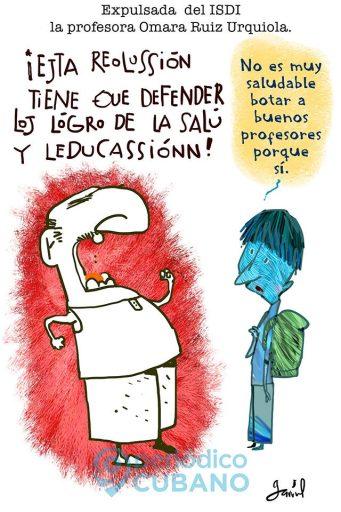 Caricatura de Garrincha sobre caso de despido del Instituto Superior de Diseño de Omara Ruiz Urquiola.
