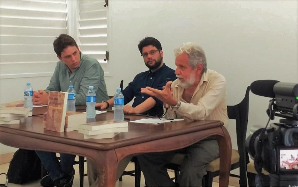 Carlos Aníbal Alonso, Juan Manuel Tabío y Enrique Saínz. Homenaje a Lorenzo García Vega. La Habana, julio de 2019 / Foto: Cortesía del entrevistado