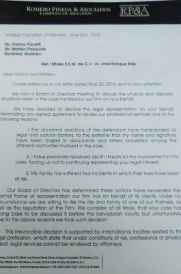 Copia de la carta enviada por el bufete Romero Pineda.