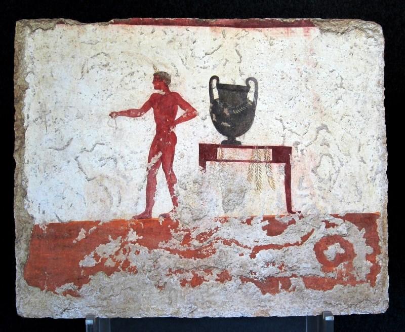 Placa oriental do Túmulo do Mergulhador em Paestum (470-480 a.C.). Wikimedia Commons.
