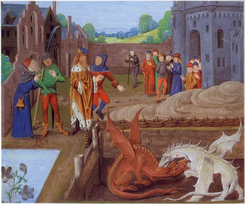 Vortigern e Ambrose assistindo a luta entre os dragões vermelho e branco / Wikipedia
