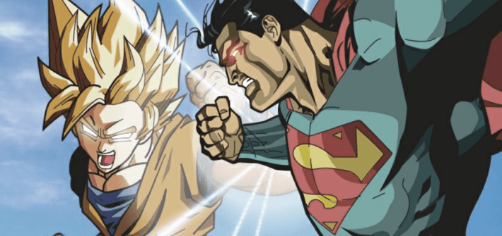 Fan Arte de Goku y Superman. cómic americano vs manga