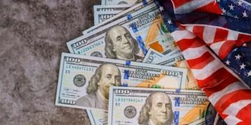 Close-Up american dollars money of USA Flag.
