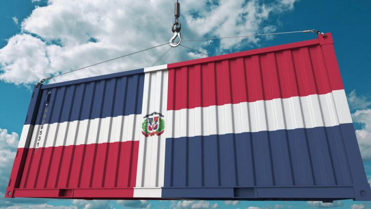 Loading cargo container with flag. Import or export related conceptual 3D rendering
