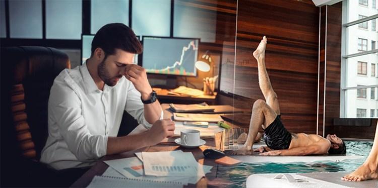 joven de negocios estresado vs practicando yoga sobre el agua
