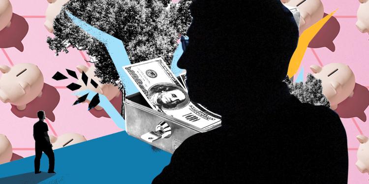 Concepto: Silueta de Bill Gates en fondo con objetos referentes a ahorro: alcancías, dólares.