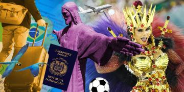Montaje: viajes, Cristo Redentor, pasaporte dominicano, carnaval, futbol, colores