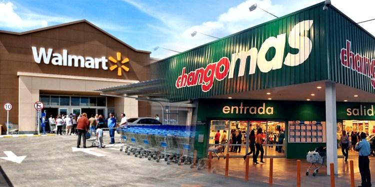 Fotomontaje: fachada de Walmart junto a fachada de Changomás