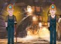 Caricaturas de Bill Gates y Jeff Bezos vestidos como mineros, dentro de una mina