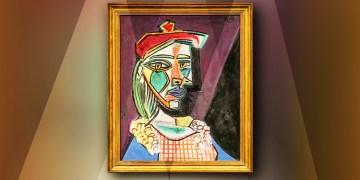 """Cuadro de Picasso: """"mujer con boina y vestido de cuadros"""""""
