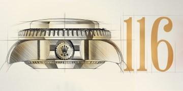 Sketch de reloj Rolex lateral, número 116