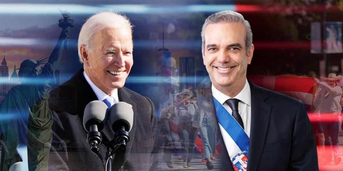 Montaje de Joe Biden, presidente de Estados Unidos, al lado de Luis Abinader, presidente de República Dominicana