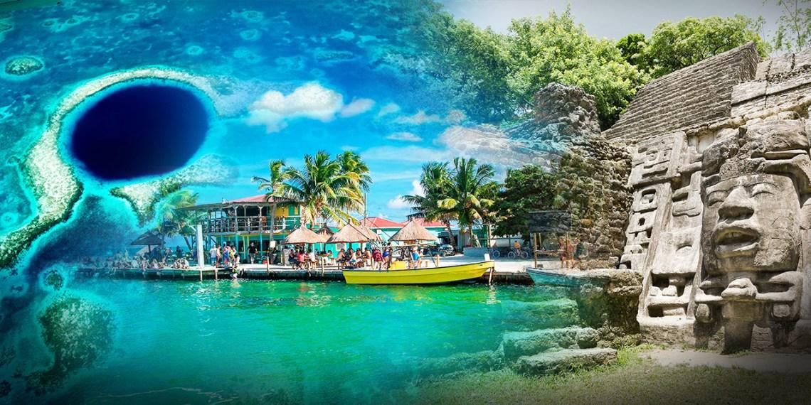 Collage de sitios turísticos en Belice: Gran agujero azul, Mayor Corker y Lamanai