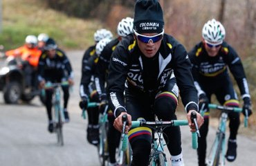 Duarte y el equipo colombiano entrenándose en Italia