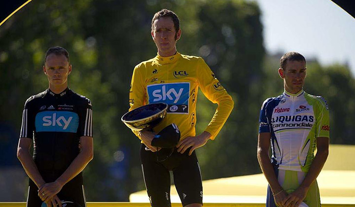 El podio final del Tour de Francia 2012 con Wiggins, Froome y Nibali