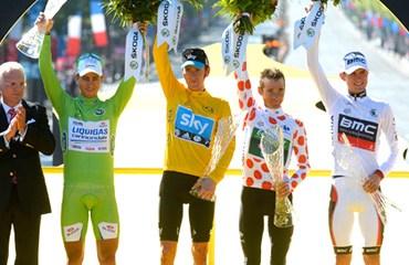 Podio vencedores Tour de Francia 2012
