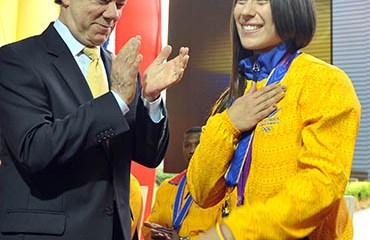 El Presidente Santos junto a Mariana Pajón