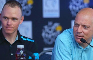 Chris Froome y Dave Brailsford (director deportivo del Sky)