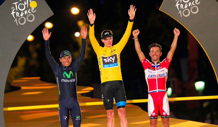 Chris Froome, Nairo Quintana y Joaquim 'Purito' Rodríguez. (Foto©PrensaTeamMovistar)
