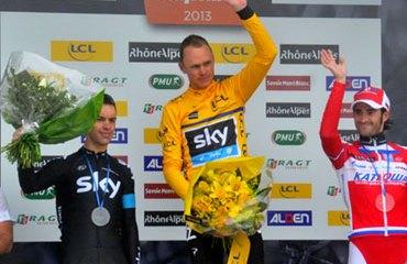 Podio del Critérium Dauphiné 2013: Froome, Porte y Moreno