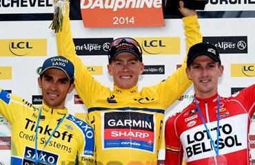 Podio final de la competencia con Talansky, Contador y Van den Broeck