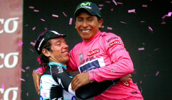 Rigoberto Urán (segundo) y Nairo Quintana (campeón), candidatos en la categoría élite por su brillante desempeño en el Giro de Italia.