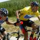 Victor Hugo Peña, con la camiseta amarilla de líder del Tour de Francia de 2003