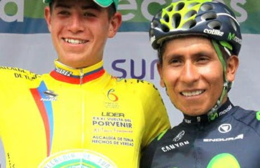 Nairo Quintana acompañó este viernes la tercera etapa de la Vuelta al Porvenir