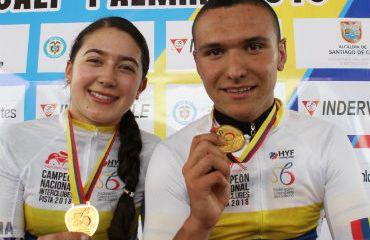 Carolina Vargas y Juan Julián Orozco ganadores de preseas doradas (Foto FCC)