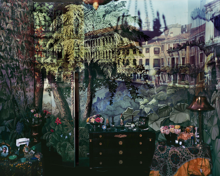 Abelardo-MORELL_Camera-Obscura-View-of-Volta-del-Canal-in-Palazzo-Room-Painted-With-Jungle-Motif_2008