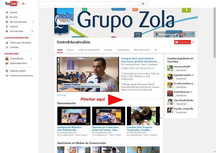 web YouTube Grupo Zola