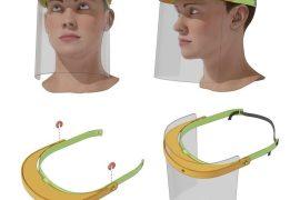 imprime en 3d viseras con pantallas para sanitarios