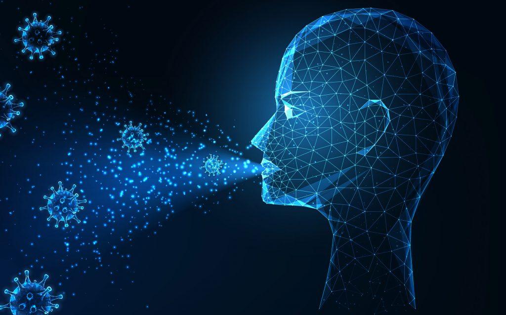 Transmision futurista de aerosoles y gotitas del concepto covid 19 que brilla intensamente en la cabeza humana poligonal baja y la infeccion por coronavirus en el aire sobre fondo azul oscuro