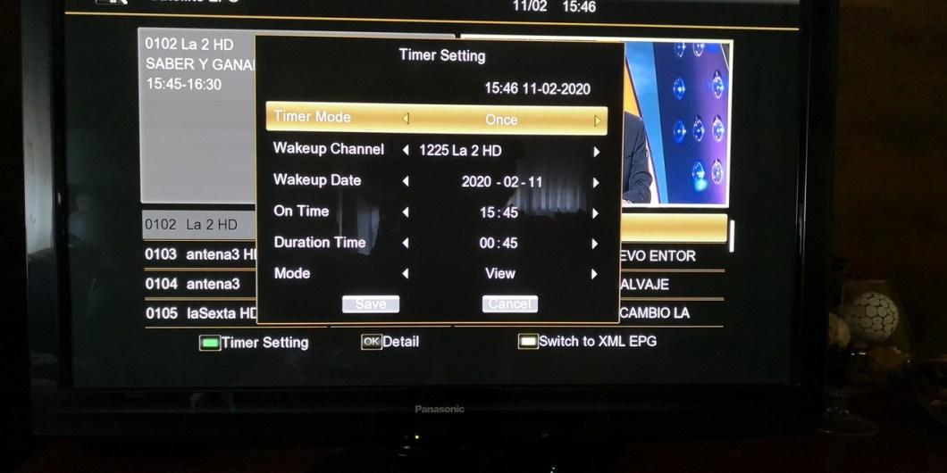 Prestaciones del televisor