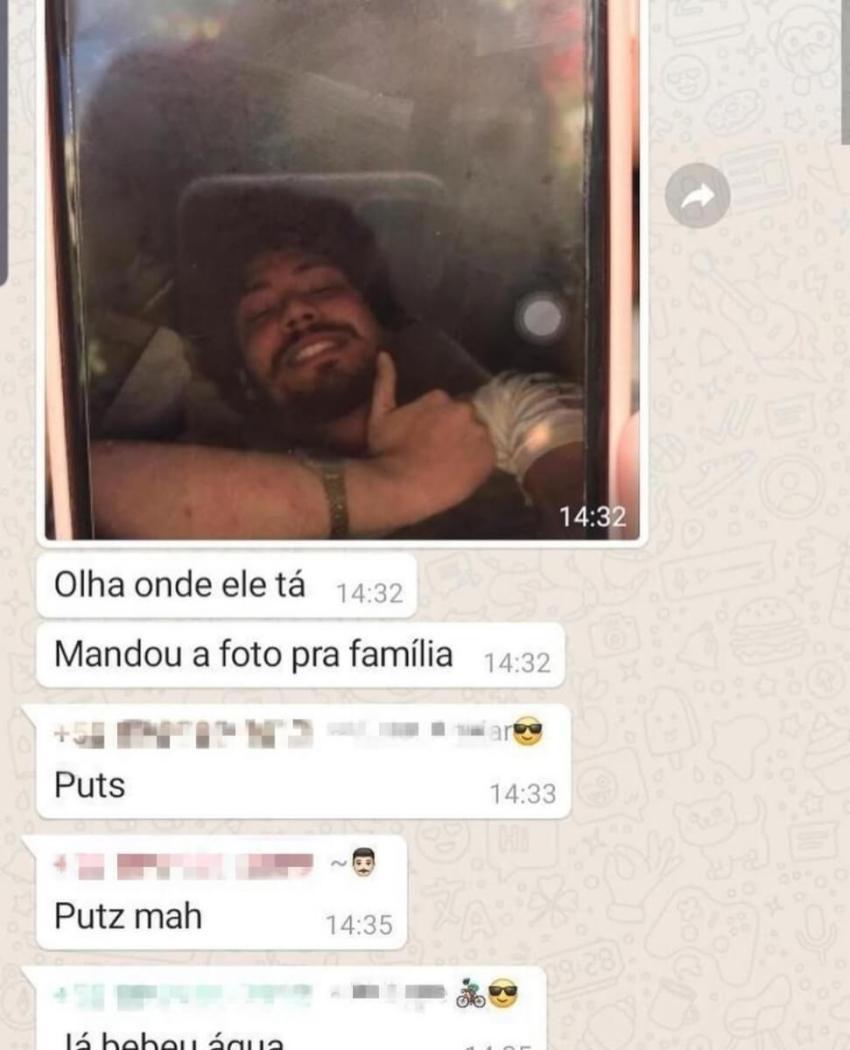 Selfie e pedido de socorro mandado por Davi à família (publicada originalmente no G1)