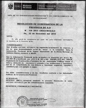 Corporación Vettoretti es reconocido por el ministerio del Interior por su continuo apoyo social