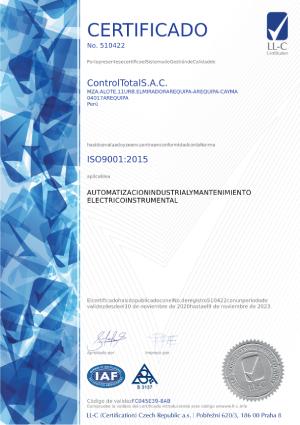 La certificación de su sistema de gestión de calidad bajo estándares de la norma ISO 9001:2015.