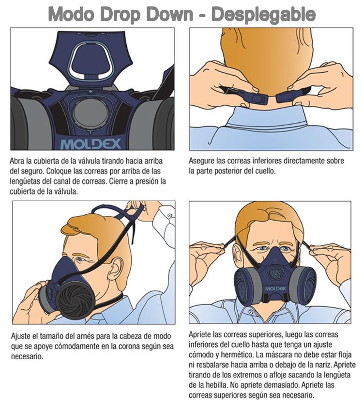 el respirador Moldex® Serie 7800 puede ser colocado alrededor del cuello en el modo desplegable drop down.